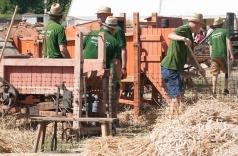 Landarbeit Vorführung beim Dreschkirtag in Rechnitz